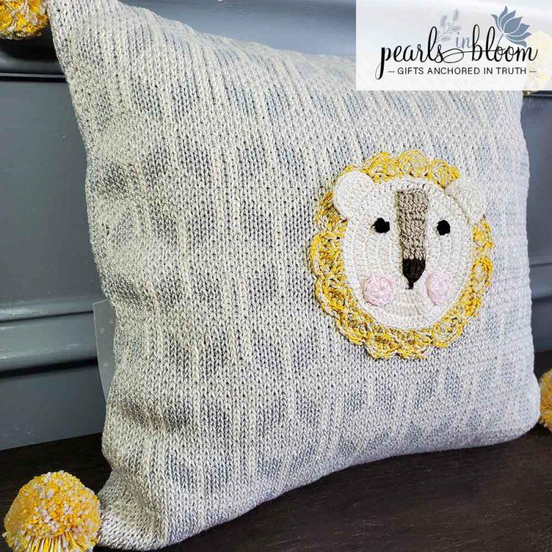 lion crochet pillow
